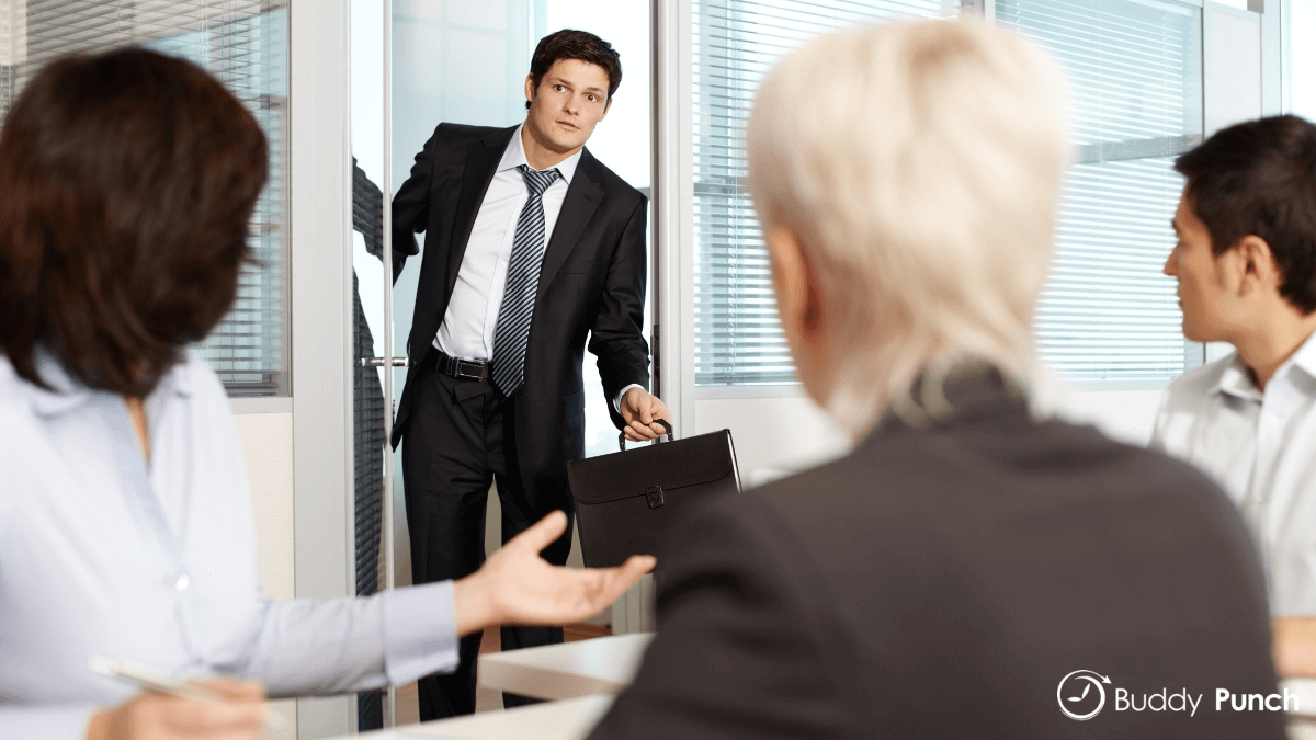 Man showing up late to work because  he was informed he needed to work last minute.
