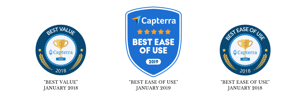 "The ""Best Value"", ""Best Ease of Use 2018"" and ""Best Ease of Use 2019"" badge from Capterra."