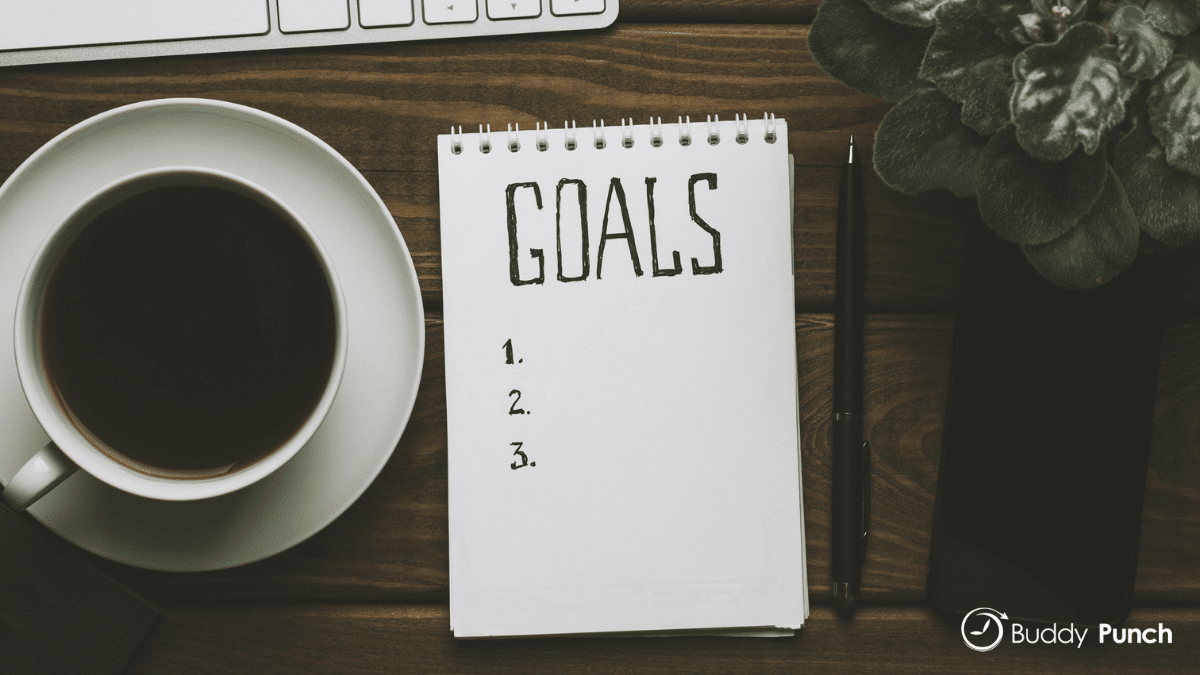 A list of goals being created for employees.