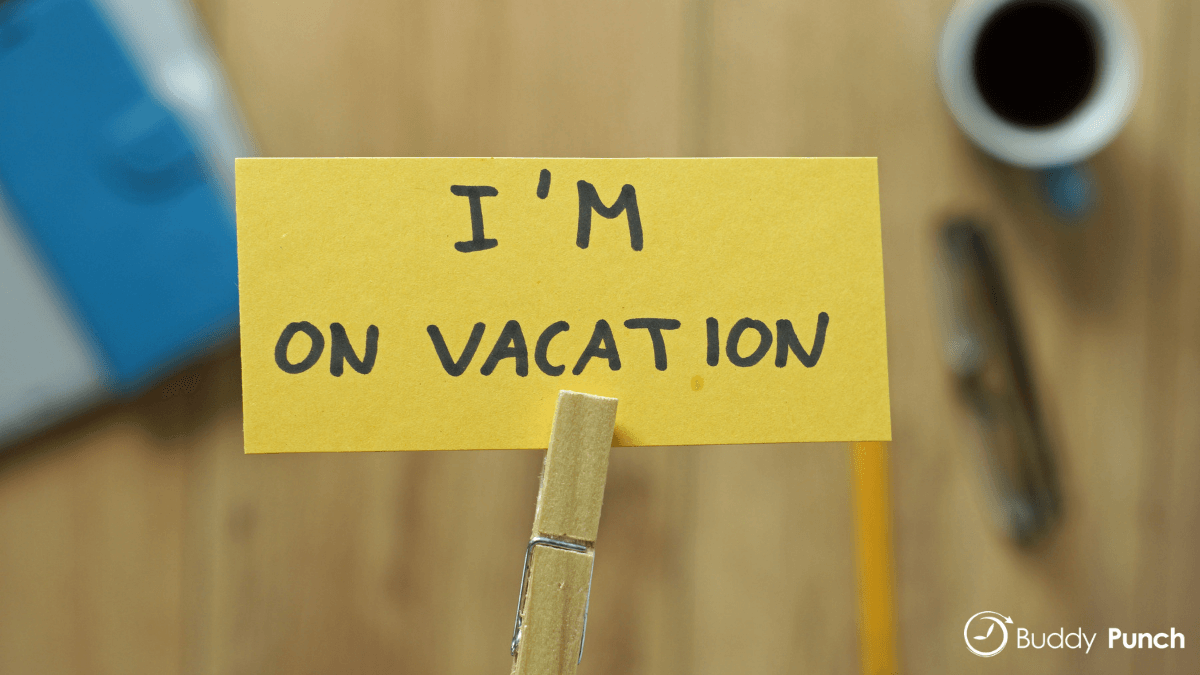 """Employee left """"I'm on vacation"""" note at their desk as they requested time off."""