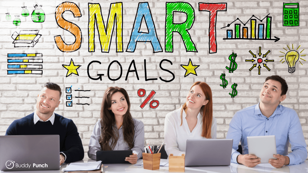 People at work creating and reviewing SMART goals.