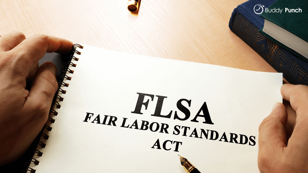 Manager reviewing a copy of the FLSA, Fair Labor Standards Act, manual.