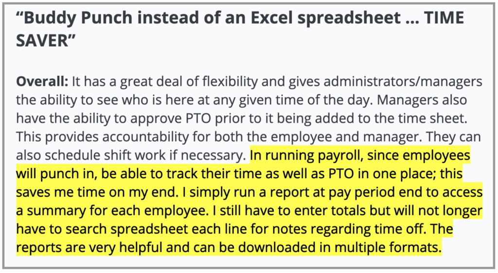 """Buddy Punch Review: """"Buddy Punch instead of an Excel spreadsheet... TIME SAVER"""""""