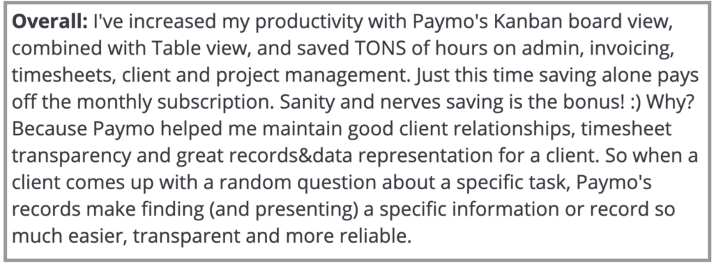 """Paymo Review: """"Increased productivity"""""""
