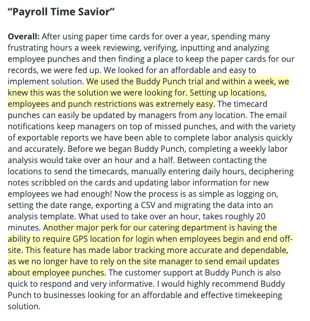 "Buddy Punch review: ""Payroll time savior"""