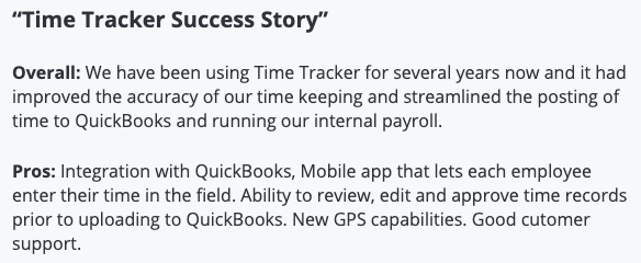 """eBillity review: """"Time Tracker Success Story"""""""