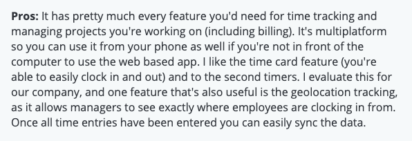 """eBillity review: Pros - """"It has pretty much every feature you'd need for time tracking and managing projects you're working on (including billing)..."""""""