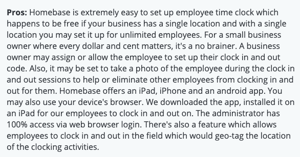 """Homebase review: Pros - """"Homebase is extremely easy to set up employee time clock..."""""""