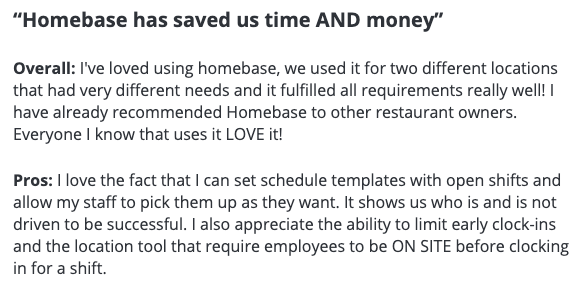 "Homebase reviews: ""Homebase has saved us time AND money"""