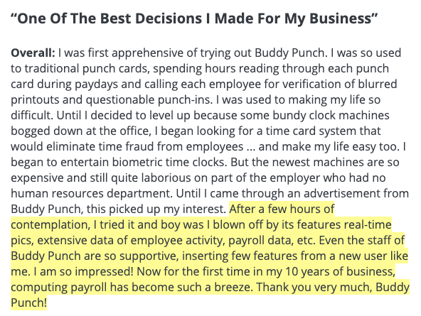 """Buddy Punch Review: """"One of the best decisions I made for my business."""""""