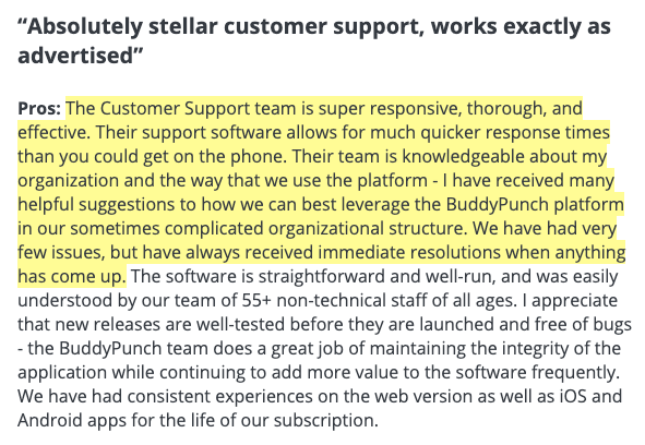 """Buddy Punch Review: """"Absolutely stellar customer support, works exactly as advertised."""""""