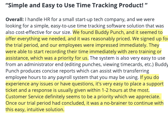 """Buddy Punch: """"Simple and Easy to Use Time Tracking Product!"""""""