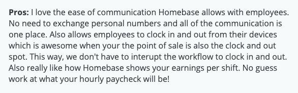 "Homebase review: ""Ease of communication"""