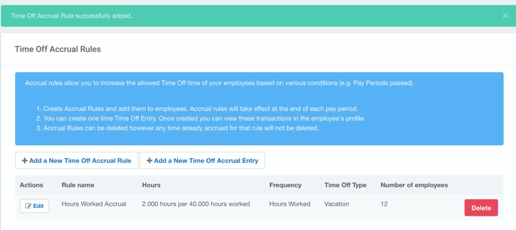 Time Off Accrual rules can be easily set within Buddy Punch