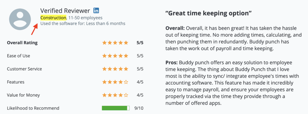 "Buddy Punch review: ""Great time keeping option"" for Construction"