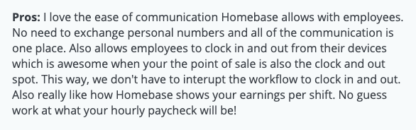 "Homebase review: ""Ease of communication"""