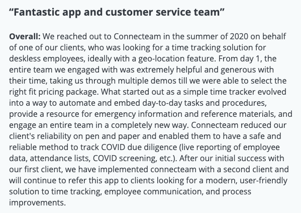 "Connecteam review: ""Fantastic app and customer service team"""