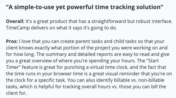 "TimeCamp review: ""A simple-to-use yet powerful time tracking solution"""