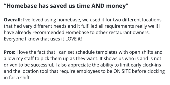 "Homebase review: ""Homebase has saved us time AND money"""