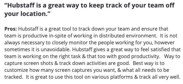 """Hubstaff review: """"Hubstaff is a great way to keep track of your team off your location"""""""