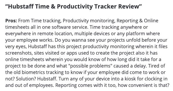 "Hubstaff review: ""Hubstaff Time & Productivity Tracker is convenient"""