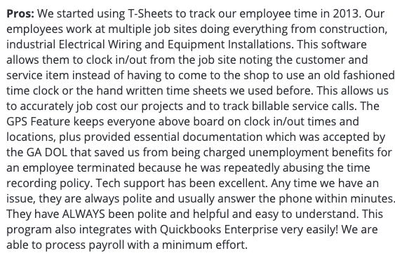 """QuickBooks Time review: """"Everything has been excellent"""""""