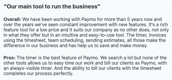 """Paymo review: """"Our mail tool to run the business"""""""