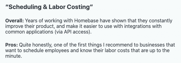 """Homebase review: """"Scheduling & Labor Costing"""""""