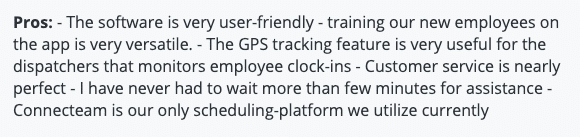 """Connecteam review: """"User-friendly software; useful for employee clock-ins"""""""