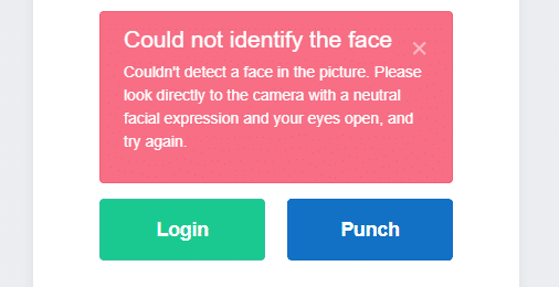 Buddy Punch: Facial Recognition Error Message