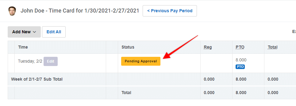 """Buddy Punch: Time Off """"Pending Approval"""""""