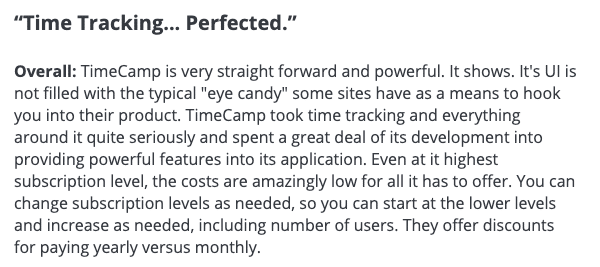 """TimeCamp review: """"Time Tracking... Perfected"""""""