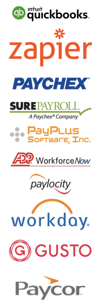 Buddy Punch has payroll Integrations with QuickBooks, Zapier, Paychex, SurePayroll, PayPlus, ADP, Paylocity, Workday, Gusto, Paycor, and more.