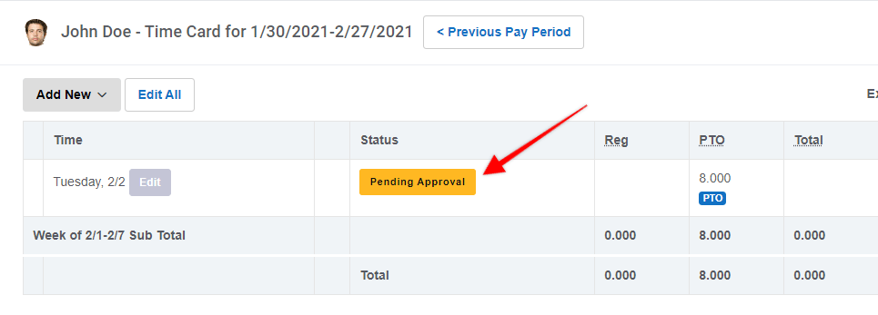 Pending Approval for time off in Buddy Punch