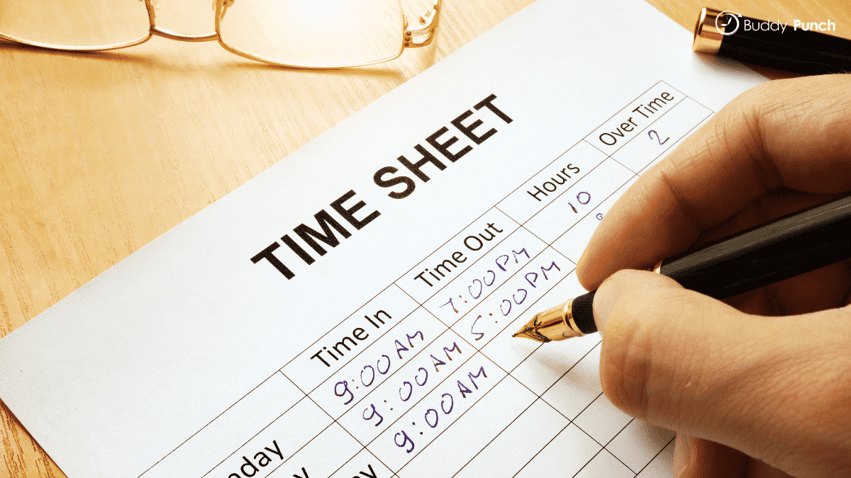 Pen and paper time sheet example