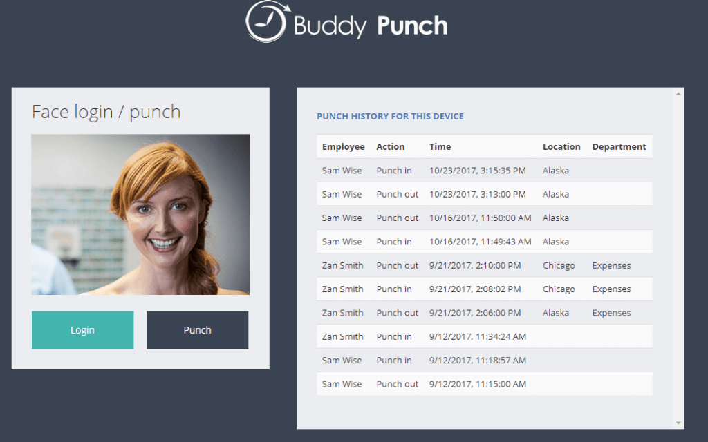 Buddy Punch's Facial Recognition feature