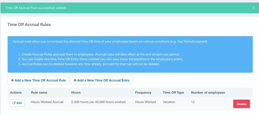 Buddy Punch's Time Off Accrual Rules