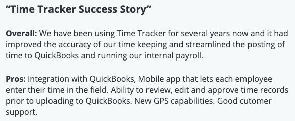 "TimeTracker review: ""TimeTracker Success Story"""