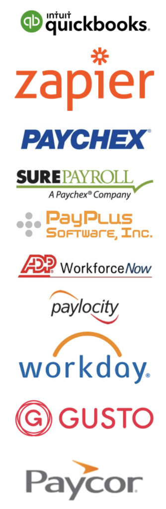 Buddy Punch integrates with endless payroll platforms from QuickBooks, to Zapier, Paychex, SurePayroll, PayPlus, ADP WorkforceNow, Paylocity, Workday, Gusto, Paycor, and more.