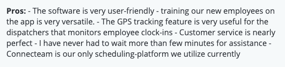 """Connecteam review: """"User-friendly, GPS Tracking is very useful"""""""