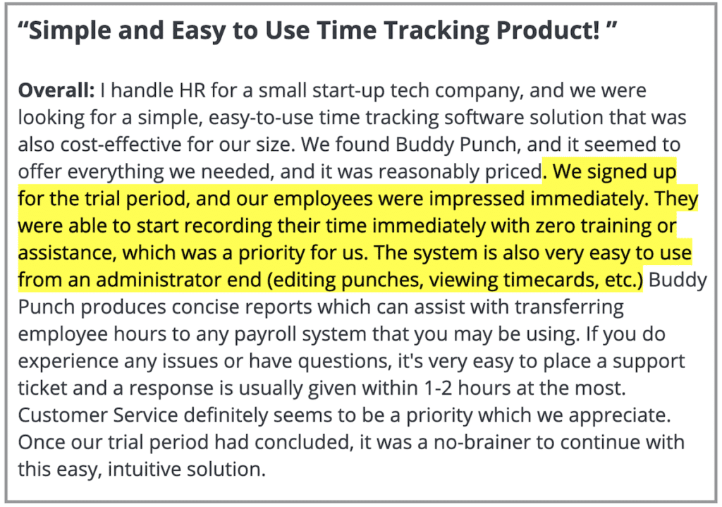"""Buddy Punch review: """"Simple and easy to use time tracking product"""""""
