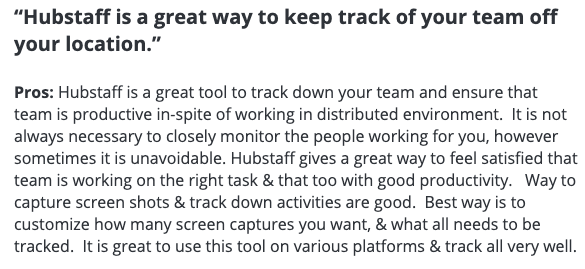 """Hubstaff review: """"Hubstaff is a great way to keep track of your team off your location."""""""