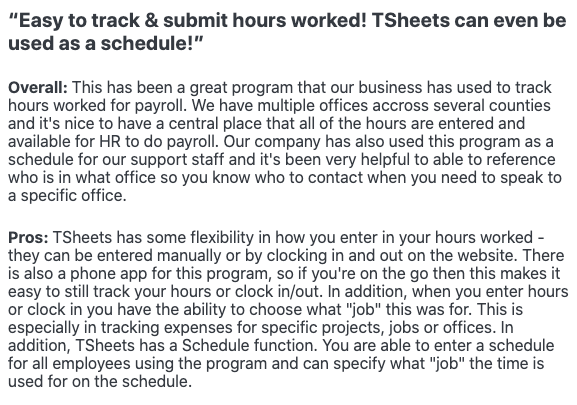 """""""Easy to track and submit hours worked!"""" - Review"""