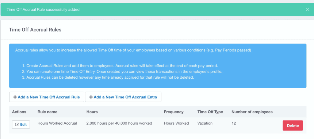 Example of time off accruals screen