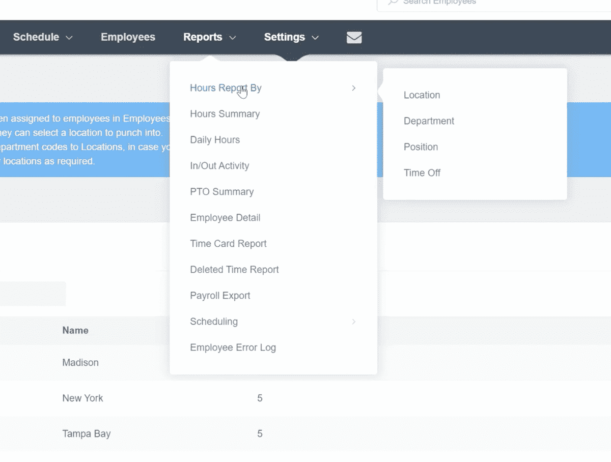 Example of Reports drop down menu