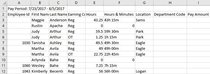 Example Excel spreadsheet