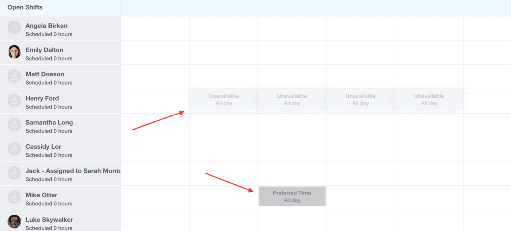 Employee schedule with preferred and unavailable days marked