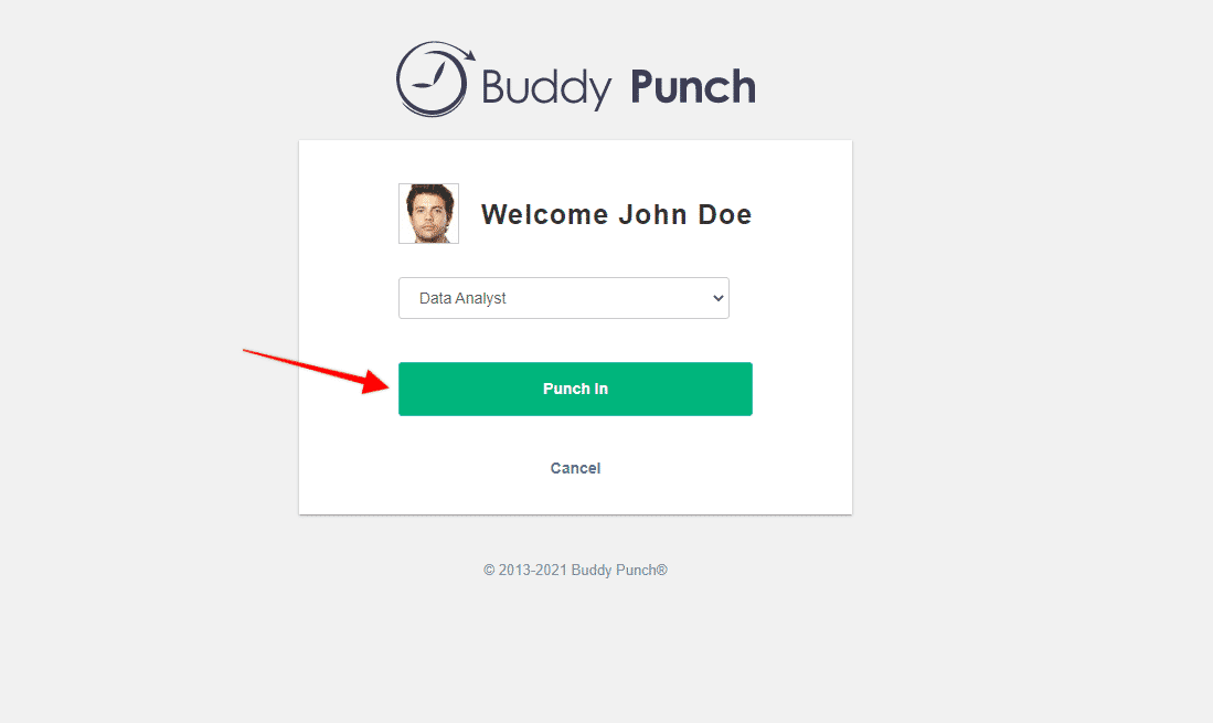 Welcome screen for punching in