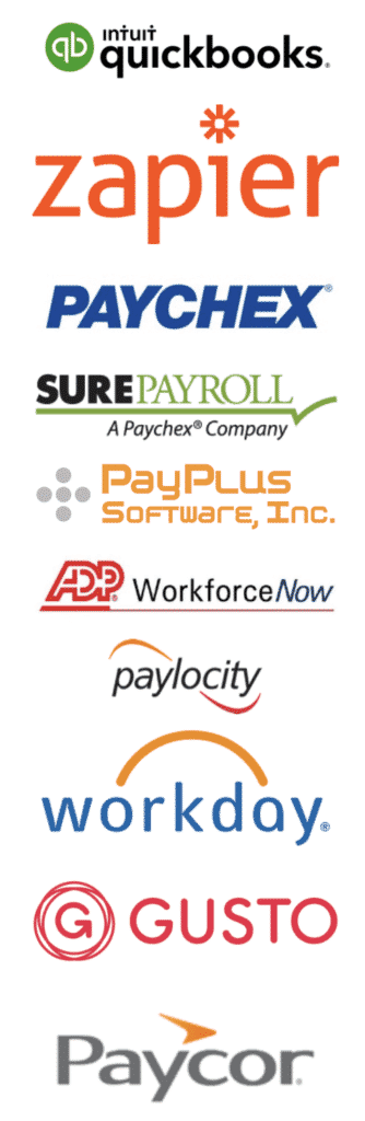 Quickbooks, Zapier, Paychex, Sure Payroll, Pay Plus, and more