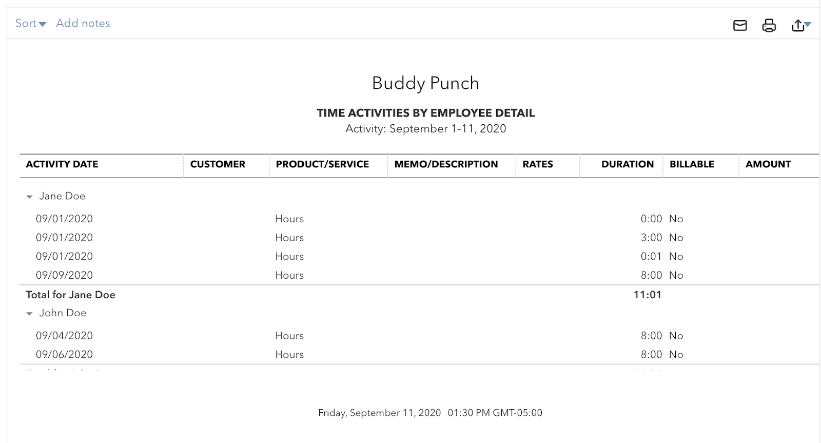 Buddy Punch Time Activities by Employee Detail